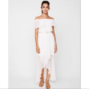 Express Off The Shoulder Fit & Flare Maxi Dress